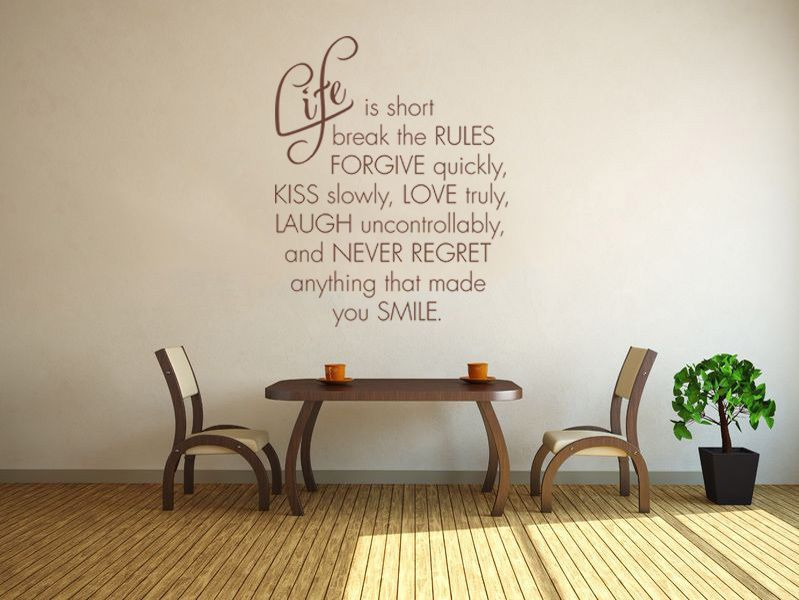 Life Is Short Break The Rules Wall Art Quote Modern